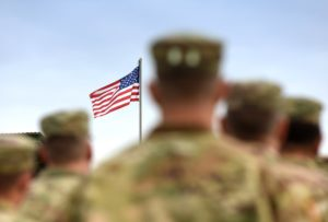 us flag and soldiers
